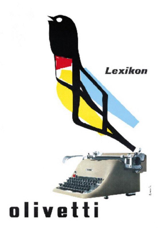 Manifesto pubblicitario per la macchina per scrivere Lexikon 80, disegnato nel 1950 da Marcello Nizzoli (autore anche del design della stessa macchina, uscita nel 1948 su progetto di Giuseppe Beccio).