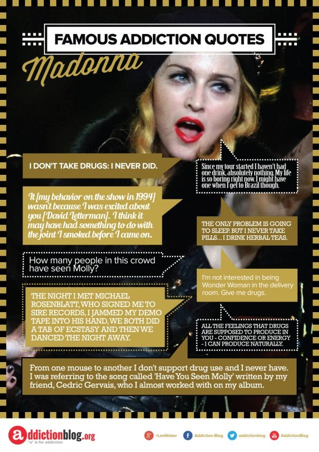 """Famous Addiction Quotes. Is Madonna drug-free? She says yes, but asks if anyone here has seen """"Molly""""."""