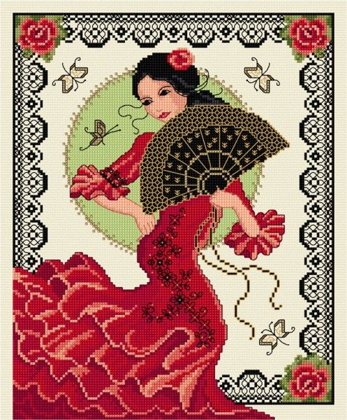 LJT192 Spanish dancer | Lesley Teare Needlework and Cross Stitch Chart Designs