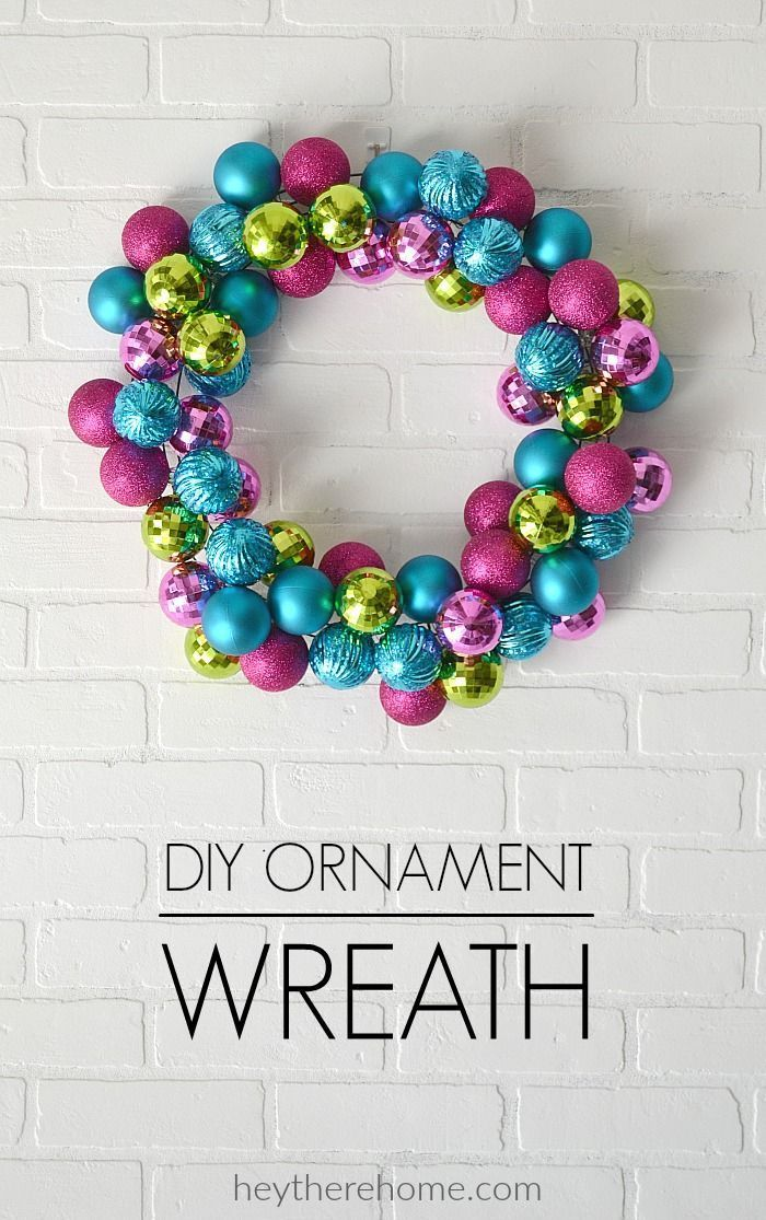 Easy DIY Ornament Wreath tutorial.- Loving these fun colors for my Christmas decor this year!