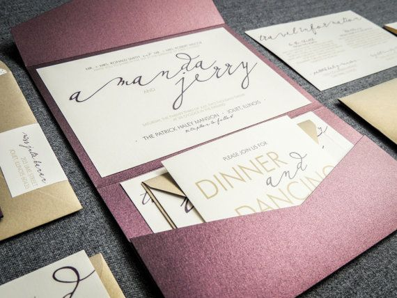 Modern Wedding Invitations Metallic Wedding by JulieHananDesign