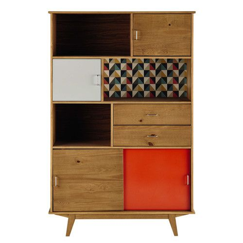 Open kast, vintage stijl, hout, oranje/grijs, breedte 116 cm