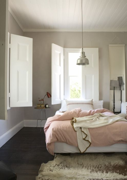 .: Lights, Modern Farmhouse, Wall Colors, Beds, Bedrooms Design, Interiors, Grey Wall, Windows Shutters, Gray Wall