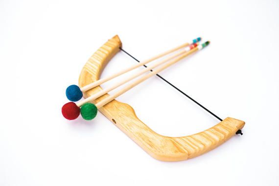 Small Wooden Bow and Arrows Natural Children Toy Play Set
