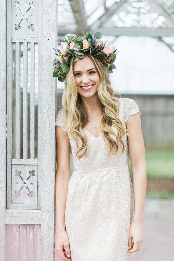oversized flower crown for the maid of honor | Beckett Dress available at BHLDN | via: 100 layer cake