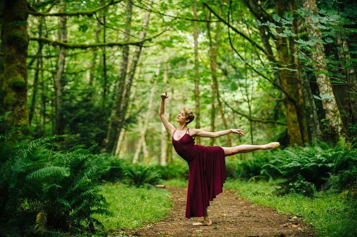 Caucasian woman dancing in forest - Caucasian woman dancing in forest