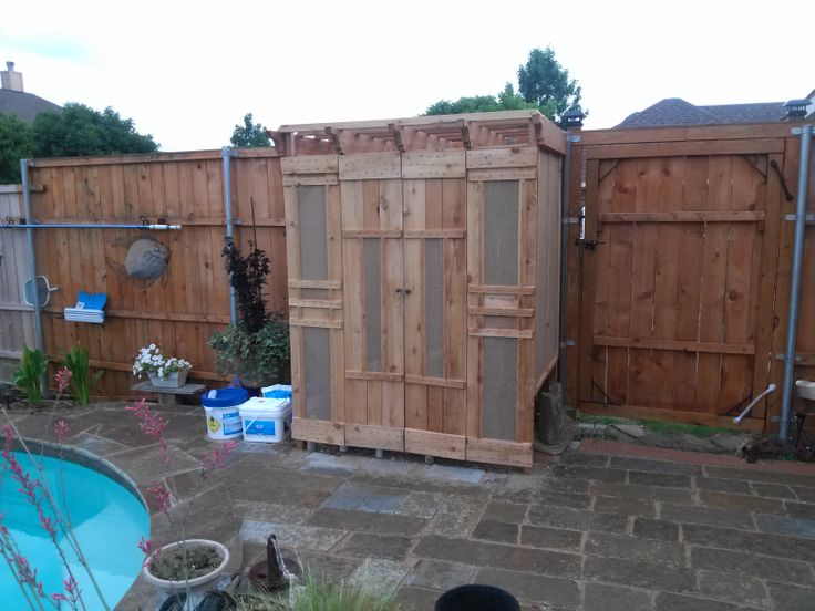 Cedar wood shed to cover hide pool pump and equipment i for Pool equipment