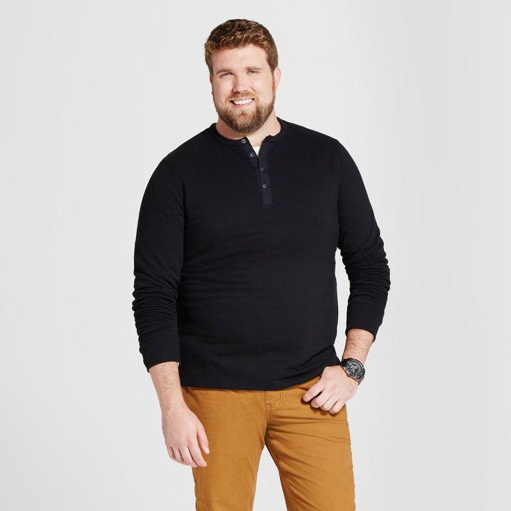Men's Big & Tall Standard Fit Long Sleeve Micro-Waffle Henley Shirt - Goodfellow & Co Black 4XBT