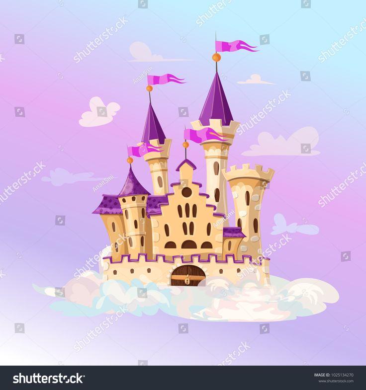 Fairytale cartoon castle cute cartoon castle fantasy