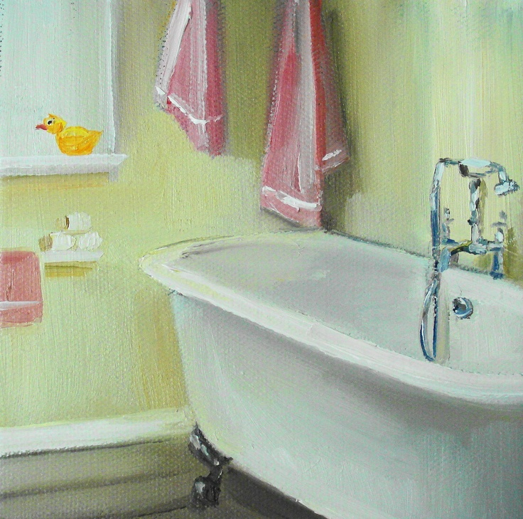 Pink Towels and a Rubber Ducky by Janet Hill