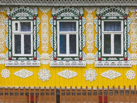 Russia, Ivanovo Oblast, Golden Ring, Plyos, House with Traditional Russian Architecture Photographic