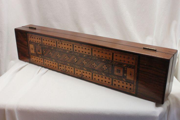 Inlaid Tunbridge ware cribbage box with a rich mellow patina. www.chinaroseantiques.com.au