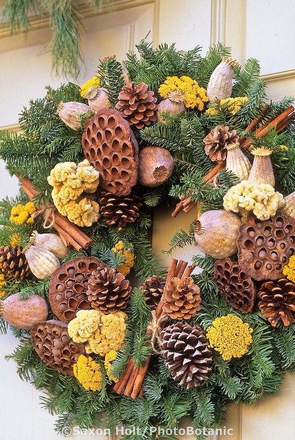 Christmas wreath with cinnamon sticks, pine cones, lotus and poppy seed pods, dried flower heads of achillea and celosia