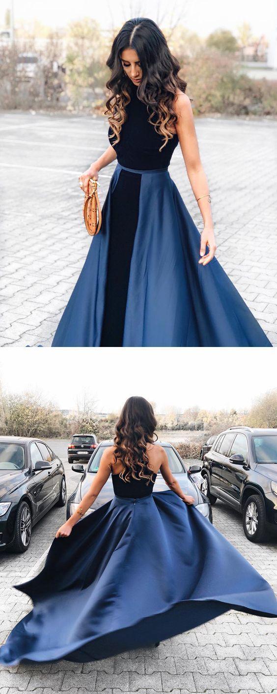 Navy blue long velvet evening dresses open back prom gowns in