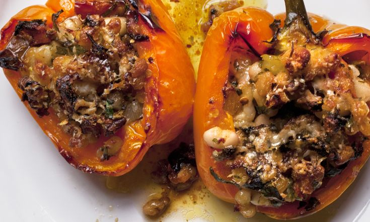 Nigel Slater's beefsteak tomato with orzo and basil recipe, and his peppers, haricot, lemon and parmesan recipe