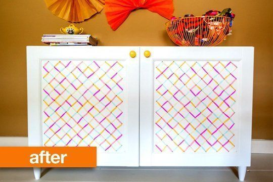 Before & After: Embroidered IKEA Besta Cabinet – Drill small holes in the doors …