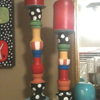 Painted these thrift store candle sticks to match artwork! Whimsical! Love it!