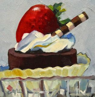 """Daily Painters Of Alabama: """"Chocolate Strawberry Torte"""" by Carolyn McDonald"""