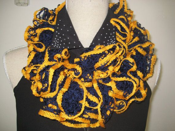 Ruffle Scarf Knitted Navy Yellow Acrylic by MinnieCreation on Etsy, €15.74