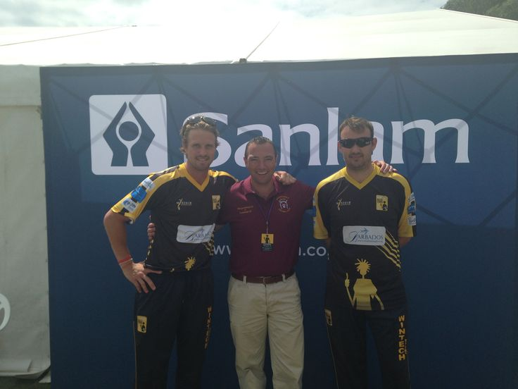 Sanlam's Colin Sutton with England international cricketers, Nick Compton and Chris Schofield #SanlamPeople