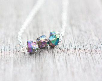 Druzy Halskette Titan Regenbogen Modern minimalistischen Schmuck Boho Mode rustikal neutralen silbergrau