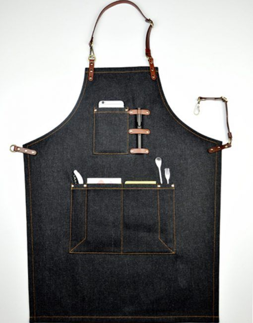 Unisex Black Denim Bib Apron with Adjustable Genuine Leather Straps and Convenient Pockets. Suitable for Uniforms of Barber,Hairdresser,Barista,Bartender,Stylist,Waiter/Waitress,Florist,Painter,Gardener, Baker,Chef,or Work ware of Cafe, Bistro, Restaurant,Bakery,Tattoo shop,Craft workshop etc.
