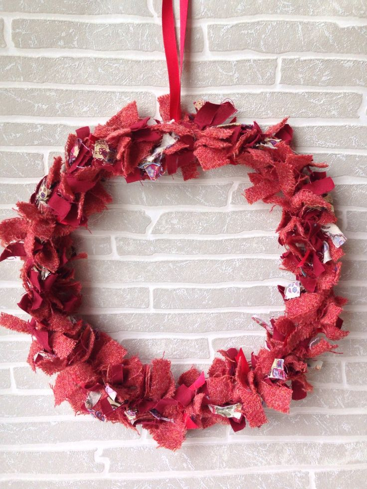 A personal favourite from my Etsy shop https://www.etsy.com/uk/listing/267253958/tweed-rag-wreath-red-rag-hanging-wreath