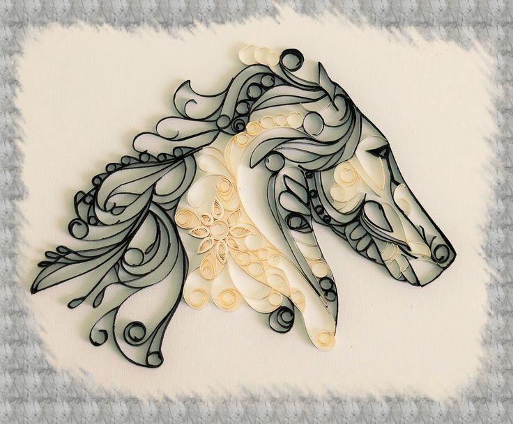 Kit tutoriel de loisir créatif - initiation au quilling - tableau cheval. Tuto quilling réalisé par Les Loisirs Créatifs d'Eugénie. http://www.creatifs-loisirs.com/boutique/quilling/kits-quilling/kit-quilling-tableau-cheval.html