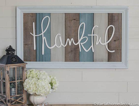 Large reclaimed wood thankful sign. Farmhouse Decor | Home Decor | Handwritten Wood Cutout | Vintage Decor