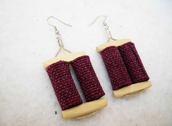 double magenta fabric bead earrings by Joogr on Etsy, €14.00