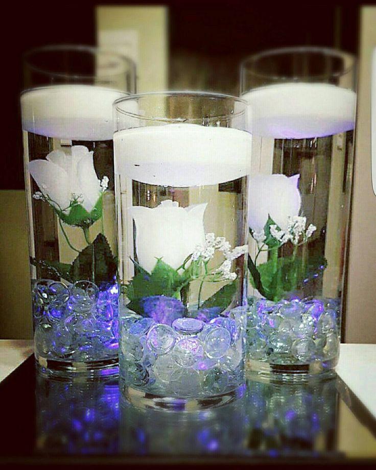 Floating candle centerpiece, white rose vases, Purple LED lights, white flower wedding centerpiece, floating flower vase, White baby shower by LuxuryByLexi on Etsy