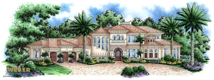 Mediterranean House Plan: Coastal Tuscan Mediterranean Floor Plan - The exterior of the beautiful Tierra De Palma home plan has all of the accouterments of a luxury Mediterranean design with Tuscan touches such as arched windows and doors, stone embellishments and a barrel tile roof.