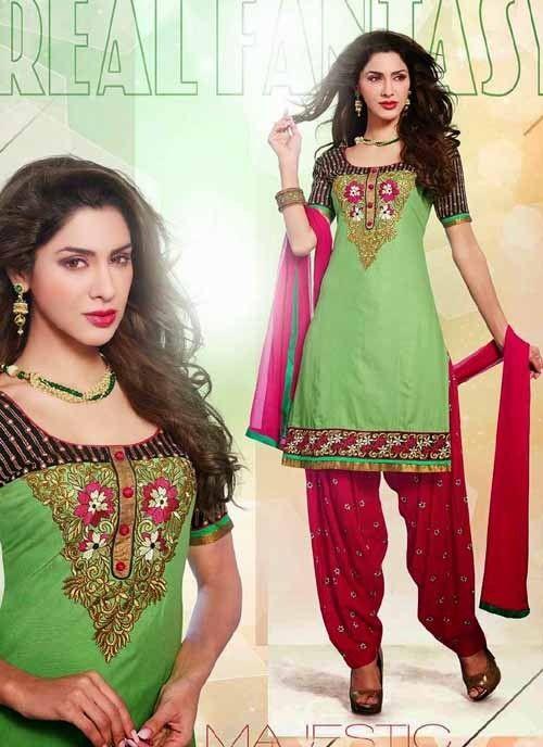 Astounding Green & Pink Shantoon Based #Salwar #Suit With Resham Work #salwarkameez #ethnicwear #womenapparel #womendresses