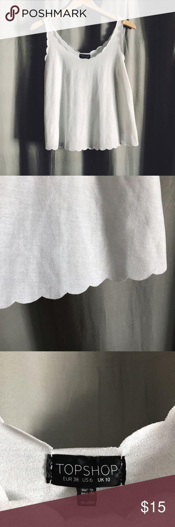 Topshop • White Scallop Tank Topshop white tank top with scallop hem. Size 6 Topshop Tops Tank Tops