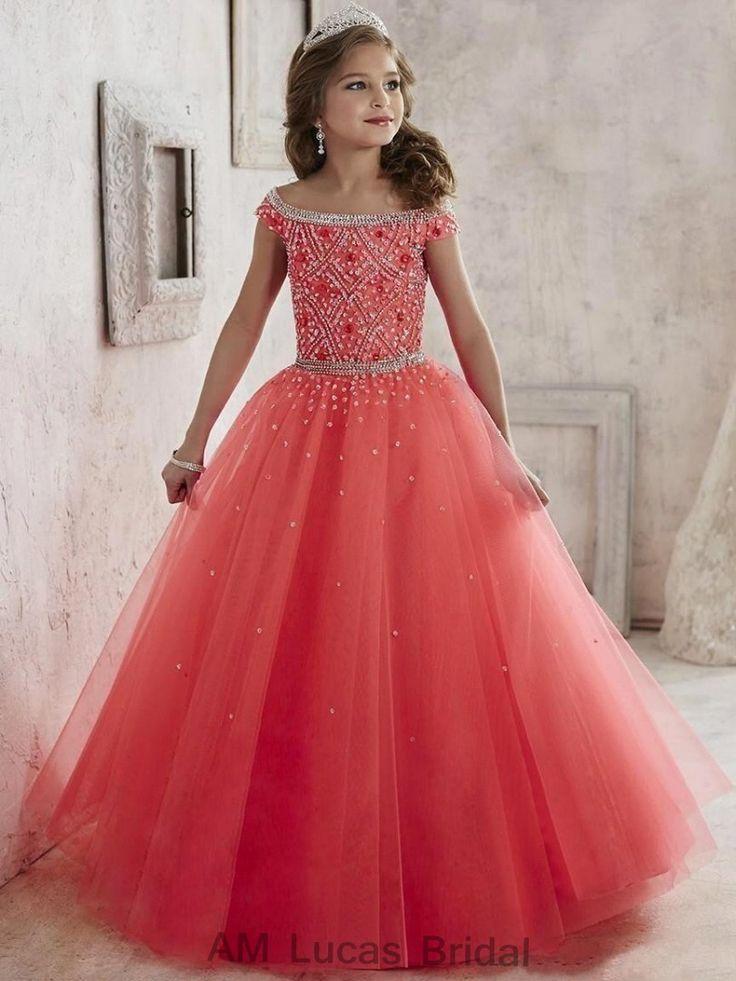 564d28729ff Pas cher Nouveau Élégant 2017 Fleur Fille Robes Pour Mariages Enfants De  Bal de Soirée Robes ...