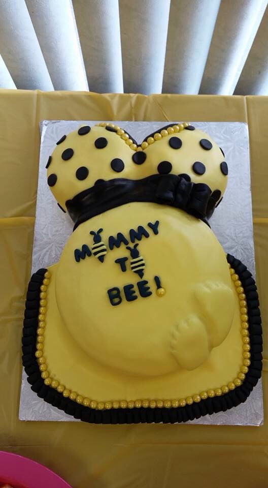 Mommy to Bee themed baby shower cake. Chocolate cake with vanilla buttercream. Fondant cover and yellow sixlets