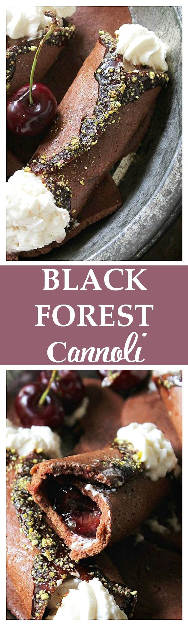 Black Forest Cannoli - Chocolate Cannoli stuffed with roasted cherries and cherry-liqueur whipped cream. SO amazing!