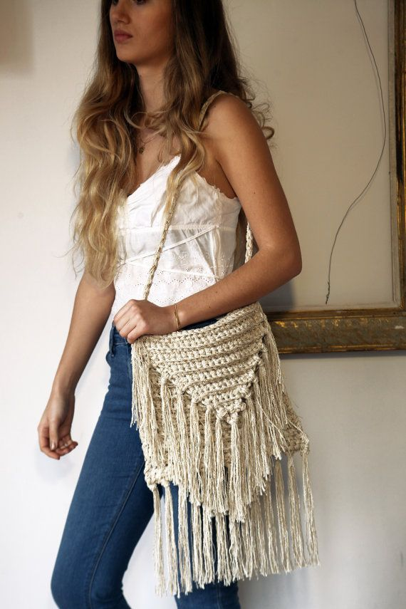 Bags & purses ecru crochet fringed shoulder by ThreeBirdsSitting
