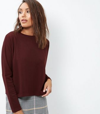 Burgundy Batwing Sleeve Cropped Sweater   New Look