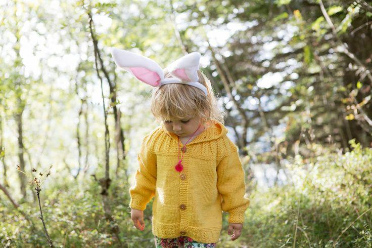 "Yellow jacket from the 70/80s design collection ""Barnestrikk fra Mørkeloftet"". Fun designs from Sandnes Garn."