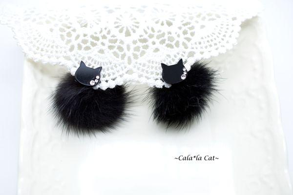 <数量限定> 猫顔スワロと黒ミンクファー2wayピアス(金属アレルギー対応 14kgfピアスに変更可)