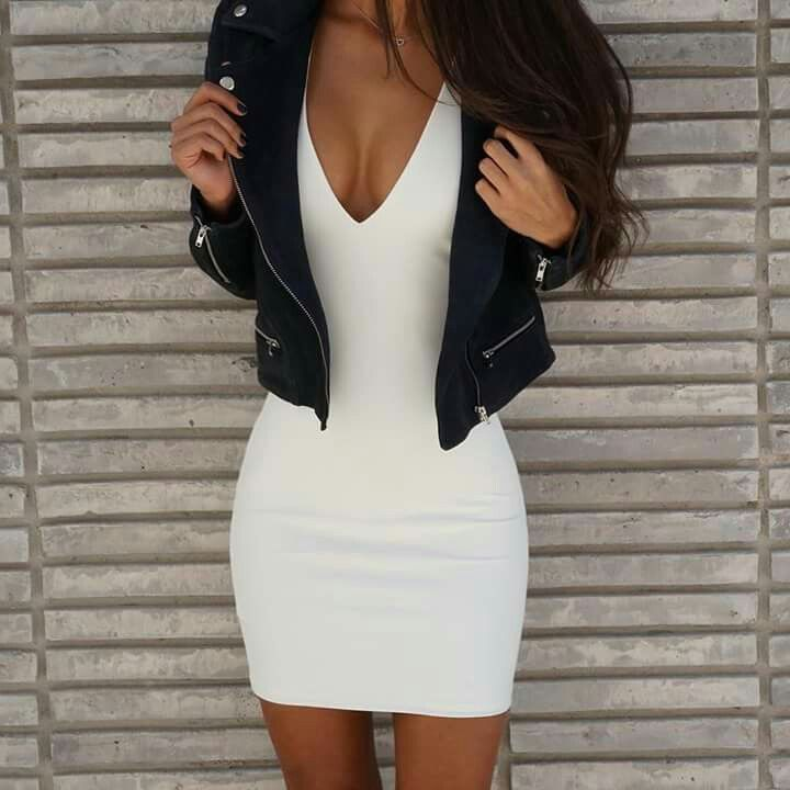 White dress with leather jacket