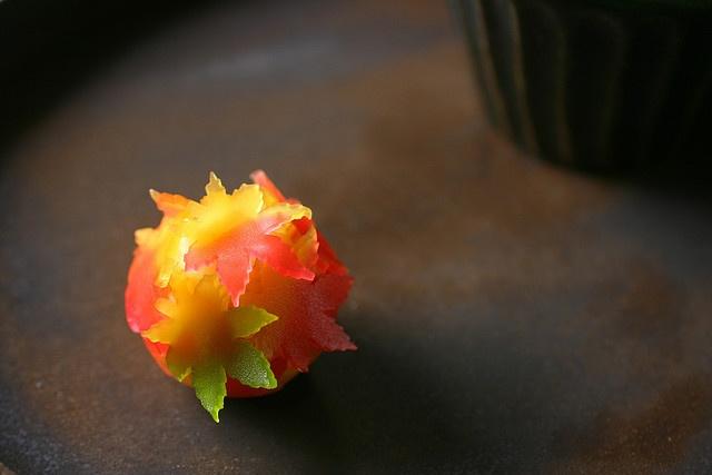maple leaves wagashi :''> so beautiful...