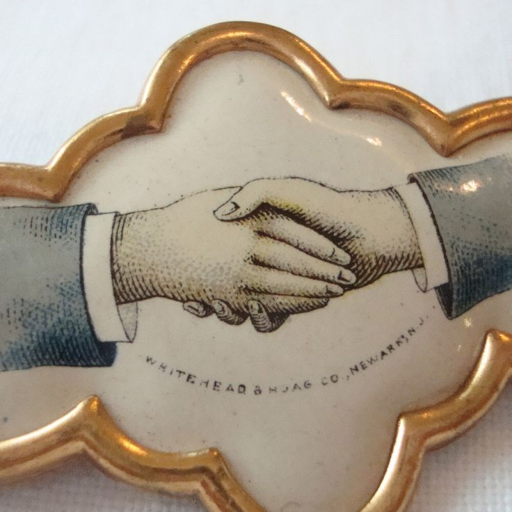 Antique Hand Pin Loyalty Pin Celluloid Brooch Button Whitehead & Hoag Fraternal Handshake Advertising by BogieBacallVintage on Etsy https://www.etsy.com/listing/166010333/antique-hand-pin-loyalty-pin-celluloid
