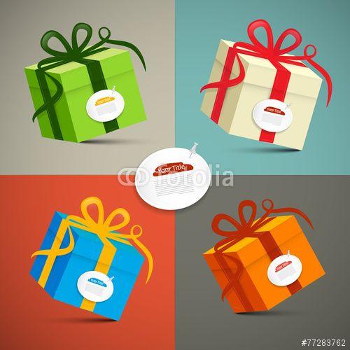 Vecteur : Vector Paper Retro 3d Gift Boxes Set Illustration