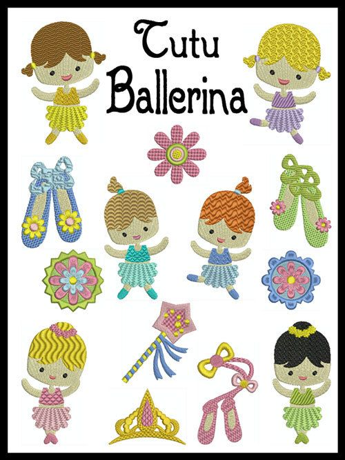 Set of 14  TUTU BALLERINA  Machine Embroidery  by embroiderquilt