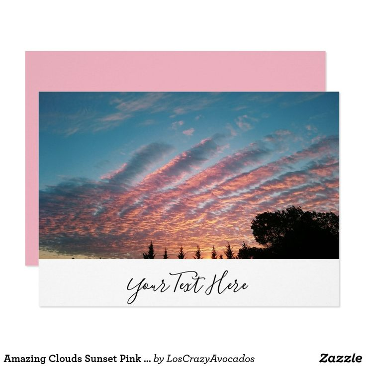 Amazing Clouds Sunset Pink Golden Invitation Card