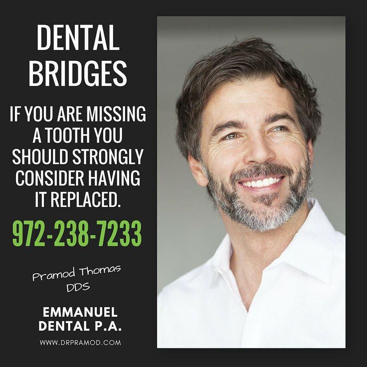 Dental bridges are a great way to replace missing teeth. Your existing teeth are used to literally create a bridge to cross the area where your tooth is missing. Bridges are made from gold metal alloys or porcelain to ensure that they are strong and durable.  #EmmanuelDental #DrPramodThomas #DentistTX #RichardsonTX #RichardsonDentist #DentalBridges #RestorativeDentistry