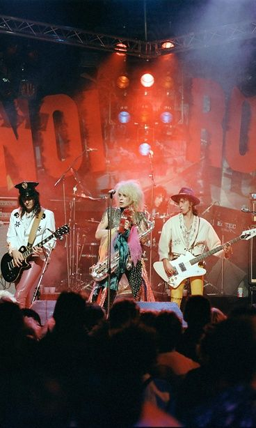 Hanoi Rocks on stage in London in October 1984. Sami Yaffa in the foreground on the right.  Copyright: Copyright Rex Features Ltd. 2012 / All Over Press.  Photo: ITV / REX / All Over Press.