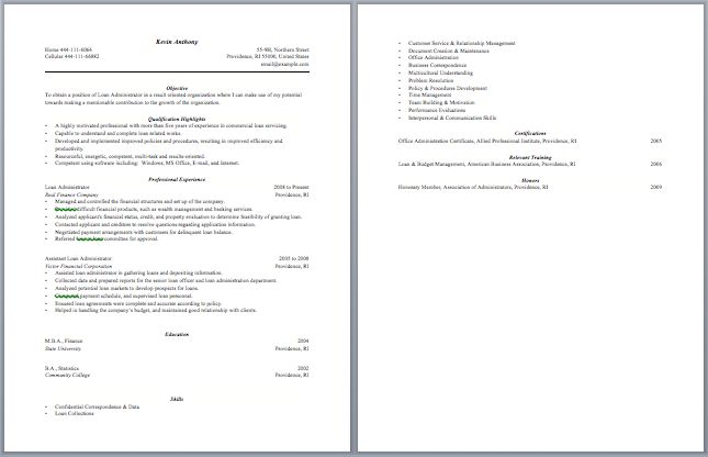 Image Result For Resume Example For Bank Job